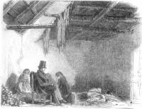Mullins' hut at Scull, by James Mahony, ARHA. The visitor was the Revd. Dr Robert Traill, The local vicar, who succmbed to fever shortly after.(Illustrated London News)