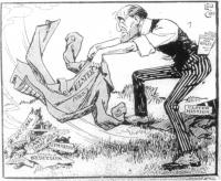 Sir Edward Carson(vigorously fanning sparks):They liken my conduct to the mad suffragettes', do they? Sure I wish I could make a fire blaze as they can anyway!(votes for Women, June 1913)