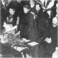 Lady Dufferin(center) at the first AGM of the Ulster Unionist Women's Council with its president, the Duchess of Abercorn(left),18 January 1912.(Hogg Collection, Ulster Museum)