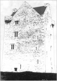 This computer enhanced reconstruction of Oola castle, County Limerick, a later tower house, shows the building as it may once have looked, with whitewashed walls,gables crowned with chimneys and mullioned windows.[Donnelly, Alexander & Pringle]