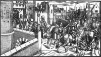 The departure of Sir Henry Sidney fromDublin Castle from John Derricke, The Image of Irelande (1581).