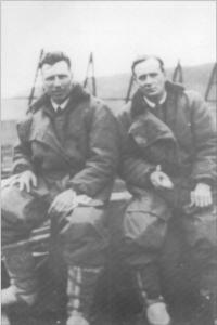 Captain John William Alcock andLieutenant Arthur Whitten-Brown at Clifden after the the successful flight. (COURTESY OF MICHAEL FREYER)