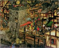 Wood Quay in the late sixteenth century, showing the crane to the right.(from Jonathan Bardon and Stephen Collin(illustrator),Dublin:One Thousand Years of Wood Quay[Belfast 1984])
