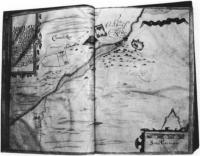 Fig.3 Carrickmacross, from Thomas Raven's survey of Essex estate, County Monaghan 1634-5. Note the cluster of cabins, center right. (Courtesy of Marquis of Bath)