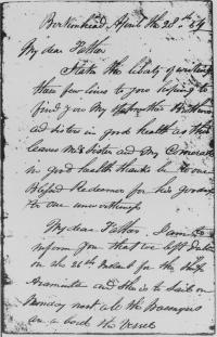 Michael Normile's farewell letter to Clare before leaving for New South Wales, 28 April 1854. (COURTESY OF MISS M . K. NORMOYLE)