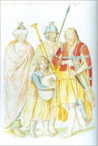 Irish people 'as they went attired in thereign of the late King Henry', pre-1547, Lucas de Heere, watercolour (CENTRAL BIBLIOTHEEK, RIJKSUNIVERSITEIT, GHENT)