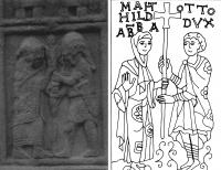 Plate 7: (left) Abbot Colman and thehigh king Flann Sinna on the Cross of the Scriptures, Clonmacnoise. Plate 8: (right) The Abbess Matilda of Essen and Otto, Duke of Bavaria and Swabia reaffirm the faith of the imperial house (from the late tenth century first metal cross of the Abbess Matilda, housed in the cathedral treasury, Essen).