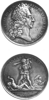 Medal commemorating the battle of Aughrim by J. Smeltzing. (National Museum of Ireland)