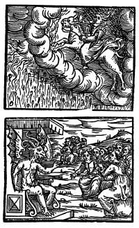 Woodcuts first published in Milan(1626) in the Compendium Maleficarum. Above: Natural disasters were blamed on witches - this shows a witch, riding a great beast through the sky, causing a rain of fire to descend. Below: at the Devil's court.