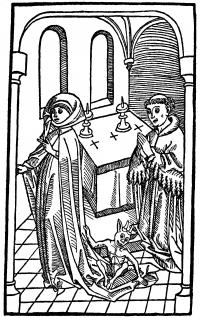 Devil and Woman. Late 15th century woodcut shows a woman leaving the altar with a demon riding the tail of her cloak.