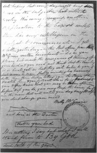 Fig.1. A threatening letter signed by 'Molly Maguire'. Note the ominous sketches of a rifle and coffin.