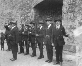 IRA members drilling at Kilmainham Gaol. (Military Archives)