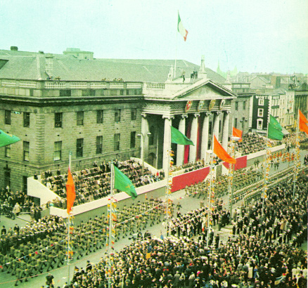 The military parade passes the GPO on Easter Sunday, 10 April 1966. (Cuimhneachán 1916–1966)