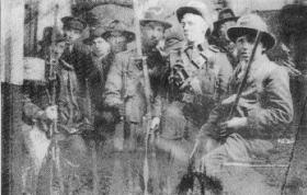 Irish Volunteers and one member of the Irish Citizen Army inside the GPO, Dublin, Easter Week, 1916. (Military Archives)