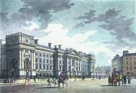 The east front of Trinity College by Robert Pool, engraved by John Lodge. Emmet and Moore first met there as undergraduates in 1794. (National Gallery of Ireland)