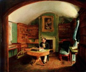 Thomas Moore in his study at Sloperton Cottage, English school. (National Gallery of Ireland)