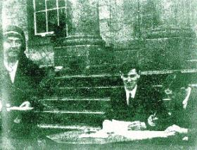 While filming Willy Ryan and his Colleen Bawn (1920) on location in Patrick Pearse's St Enda's, John MacDonagh, brother of Thomas, executed in 1916, found time to direct Ireland's first-ever propaganda documentary, showing Minister for Finance Michael Collins presiding over the signing of Dáil bonds, with Emmet's execution block serving as a symbolic table. (Kilmainham Gaol)