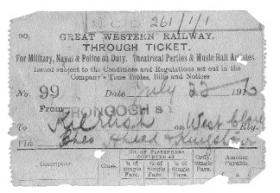 Great Western railway ticket from Frongoch to Kilrush, County Clare, 22 July 1916. (Military Archives)