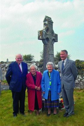 The four grandchildren of J.K. Bracken at a ceremony (organised by the JK Brackens GAA club of Templemore, Co. Tipperary) in Tankardstown cemetery, Kilmallock, Co. Limerick, to mark the centenary of his death on 2 May 2004. (Sheamus O'Donoghue)
