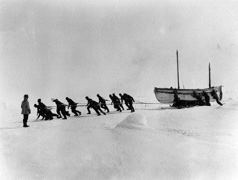 After Endurance sank, the explorers had to drag their lifeboat, James Caird, across the ice to the open sea. (Scott Polar Research Institute, Cambridge)