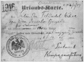 Identity card for Sir Roger Casement's Irish Brigade, Germany, 6 December 1915, bearing the name 'Irlander Feldwebel Kehoe'. (Military Archives)