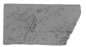 Piece of blotting paper used by Eamon Broy to pass on information that some Volunteers had escaped from Usk Prison, January 1919. (Military Archives)