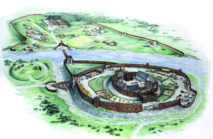 Artist's impression of the motte and bailey structure built by de Lacy at Trim (Uto Hogerzeil)