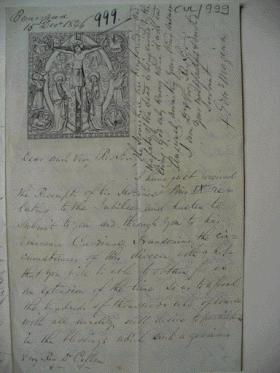 A letter from Buncrana (15 December 1846), from Bishop Maginn of Raphoe, begs to postpone devotions called for by Pius IX because 'our poor people throughout the length and breadth of this diocese are in a state of actual starvation . . .'. (Pontifical Irish College Archives)