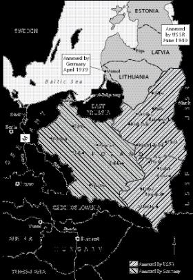 The Nazi–Soviet non-aggression pact, August–September 1939.