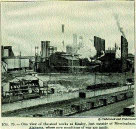 The steelworks at Ensley, just outside Birmingham, Alabama, in 1919. Because of its phenomenal industrial growth Birmingham was nicknamed the 'Magic City'. (Underwood and Underwood)