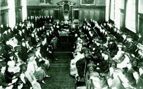 The first session of the Northern Ireland parliament, 7 June 1921, in the council chamber of Belfast City Hall—once partition had been imposed and the unionists had been 'saved', Lloyd George's government chose to negotiate. (George Morrison)