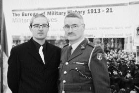 Interviewer Conor Kostick with Commandant Victor Laing at the launch of the Bureau material in March 2003 at Military Archives, Cathal Brugha Barracks. (Photographic Section, Air Corps)