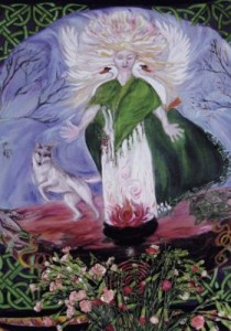 A painting of Brigid in the Goddess Temple, Glastonbury, a registered place of worship where ceremonies to honour the goddess Brigid are held.