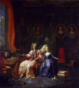 A man and his daughter by Flemish painter Jan Vierpyl. It is no longer thought to depict Irish-born moral philosopher Francis Hutcheson (1694–1746), since at the time of its painting (1721) he was only 23, unmarried and could not possibly have had a teenage daughter. On the other hand, in 1721 Bishop Francis Hutchinson was 61, had a daughter in her early teens and was a committed book-collector (note the bookshelves in the background). Moreover, his considerable bishop's salary meant that he had the money to commission such a portrait. (National Gallery of Ireland)
