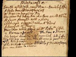 On arrival in his new diocese of Down and Connor in the early 1720s, Hutchinson noted down in his commonplace book instances of witchcraft and popular magic reported to him by locals: (fourth line) 'One swore that [on] taking aim at a hare an old wo[ma]n rose up'. (PRONI)