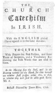 Title-page and pages 8 and 9 of the pamphlet at the core of Hutchinson's 'Rathlin scheme', The church catechism in Irish, with the English placed over against it in the same karakter . . . (James Blow, Belfast, 1722).
