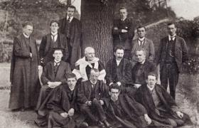 James Joyce (standing, second from the left) with fellow students at University College Dublin. In Dubliners Joyce was sensitive to the living conditions of children, their innocence, their suffering and their diseases. (National Library of Ireland)