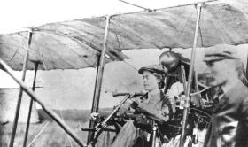 Lilian Bland c. 1910 in her home-made biplane, 'Mayfly'. (Ulster Aviation Society)