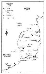 Leinster c. 1208—the Mac Murchada power base roughly corresponded to the modern counties of Wexford and Carlow. (David Crouch)