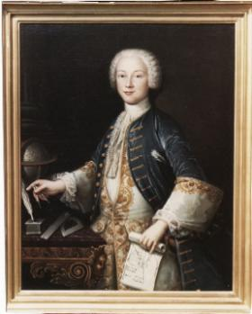 Patrick d'Arcy in 1742, aged seventeen. Artist Hubert Druais depicts an elegant and confident young man, surrounded by the implements of his studies and holding the pages of one of two memoirs on dynamics just presented to the Académie Royale des Sciences, Paris. (Private collection)