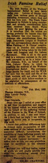 Helen Crawfurd's appeal, published in Larkin's Irish Worker, to Irish Labour Party leader Thomas Johnson (left) to join WIR in its relief work. Johnson refused, comparing its activity to the 'souperism' of Famine times.