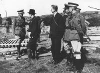 Taoiseach Eamon de Valera and Minister for the Coordination of Defensive Measures Frank Aiken with Irish Army top brass at the Blackwater manoeuvres in 1942. In September 1939 de Valera reported to the Dáil that 'we are in the centre of a theatre of war'.  (Military Archives)