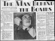 A Sunday Express exposé of Seán Russell on 30 July 1939. Jim O'Donovan was not publicly linked to the bombing campaign until 1961, the year before he retired from the ESB. (National Library of Ireland)