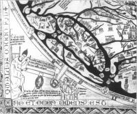 Fig.3. The Hereford Map(c. AD 1300),in which Augustus is shown issuing orders to three surveyors(mensores). Ireland,above the heads of the mensores, is depicted as being part of the Roman world.