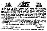 1847 cash draft issued in New York to be drawn on the National Bank of Ireland- over the course of the famine hundreds of thousands of dollars were sent from America to Ireland by the Irish immigrants.