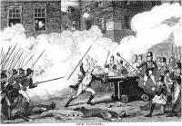 "The Battle of Ross-'One rebel, emboldened by fanaticism and drunkedness, advanced before his comrades, seized a gun, crammed his hat and wig into it, and cried out, ""Come on, boys! her mouth is stopped"" At that instant the gunner laid the match to the gun, and blew the unfortunate savage to atoms' - W.H. Maxwell, History of the Irish Rebellion in 1798(London 18445), footnote p.118. George Cruiksank was at the hight of his fame when he drew the book's technically brilliant illustrations. These heavily propagandist works paved the way for the brutish simian 'Paddy' which was to become the Britishstereotype of the post-famine period."