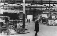 Inside the market- note the lectern to the left used for auctioning the produce.