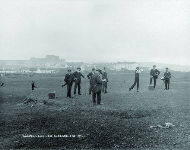 Alexander Shaw (centre), a director of the Waterford, Limerick and Western Railway, was active in the Irish Industrial Movement and helped found Lahinch Golf Club, pictured here in the early twentieth century. (National Photographic Archive)