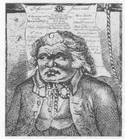 Caricature of Francis Higgins (aka the 'Sham Squire'), editor between 1784 and 1802, when the Freeman had a dubious connection with Dublin Castle.