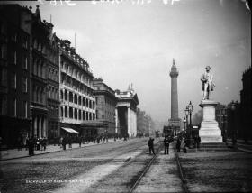 The statue of Sir John Gray in Sackville Street. He acquired the Freeman in 1841, starting a long association with the Gray family. (National Photographic Archive)